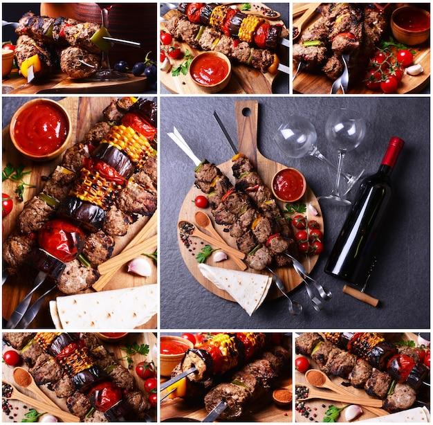 Kebab mit weingewürzen und gemüse