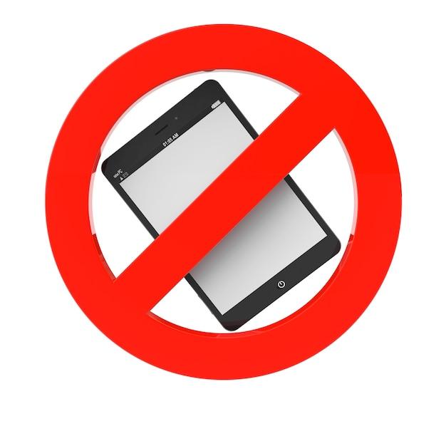 Kein tablet pc-zeichen auf weißem hintergrund