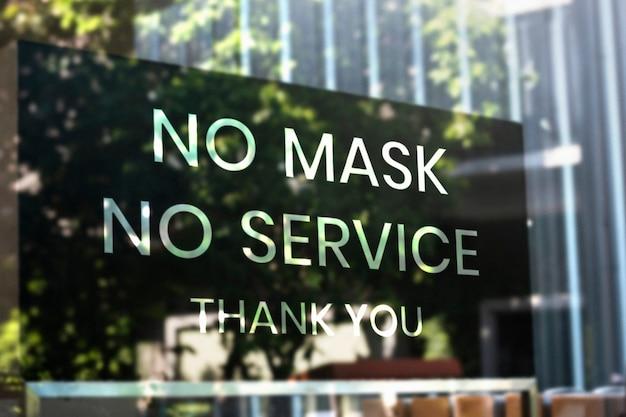 Keine maske, kein serviceplakat im cafe