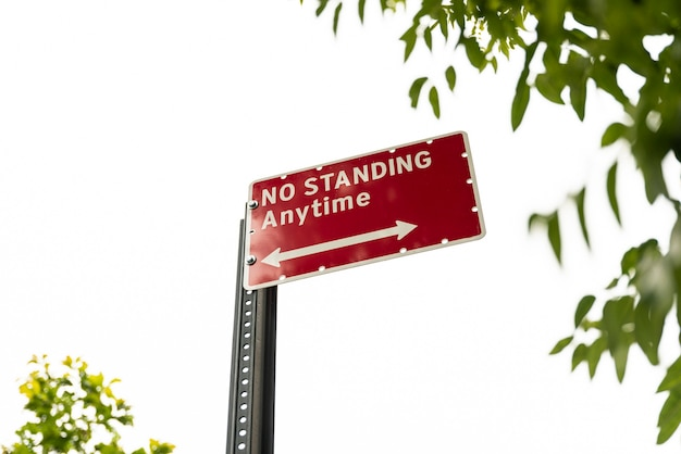 Keine stehende warnzeichennahaufnahme