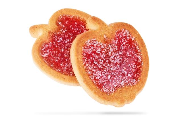 Kekse mit fruchtgelee, isoliert auf weißem hintergrund