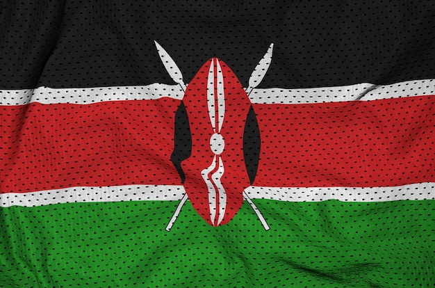 Kenia-flagge auf sportswear-netzgewebe aus polyester-nylon