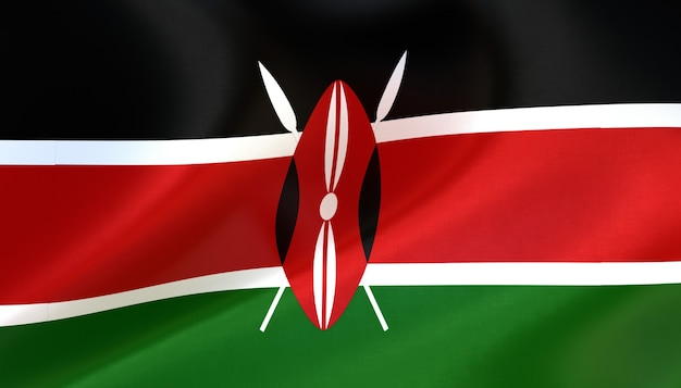 Kenia-flagge rendern mit textur