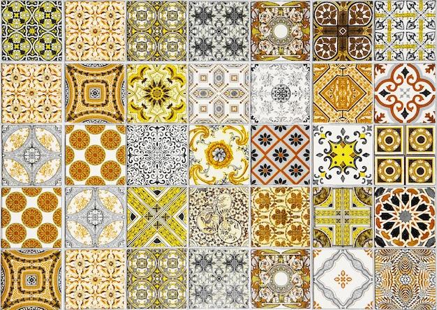 Keramikfliesen muster aus portugal gelben ton