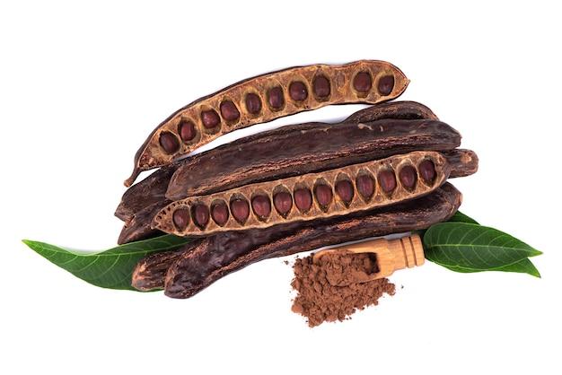 Kerob-samen isoliert auf weißem hintergrund. vegetarischer kakao