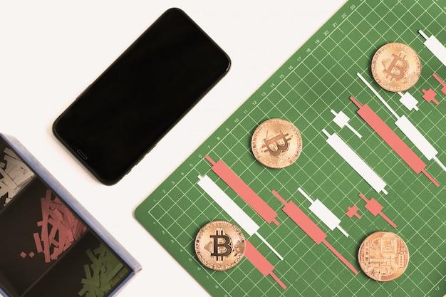 Kerzenständerdiagramm machen vom farbpapier weiß und rot auf grünem brett mit gitterlinien mit smartphone
