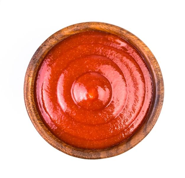 Ketchup, isoliert auf weiss. ansicht von oben