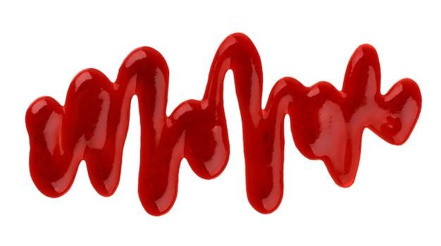 Ketchup. spritzt und verschüttete die ketschupsoße, die auf weiß lokalisiert wird