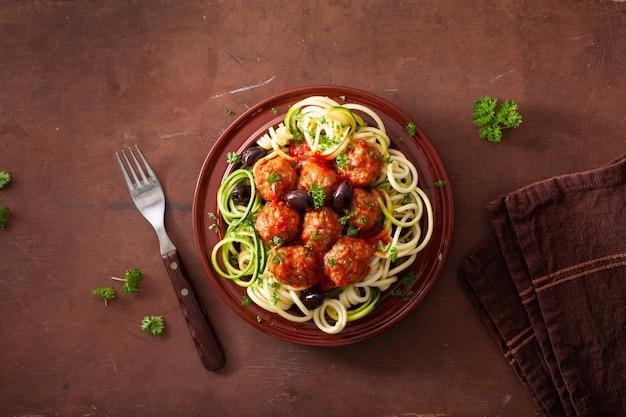 Keto paläo zoodles zucchini nudeln mit fleischbällchen und oliven