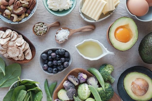 Ketogene ernährung, kohlenhydratarmes, fettreiches und gesundes essen