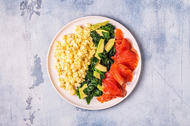 Ketogenes diätfrühstück, rührei, lachs, avocado, spinat, draufsicht.