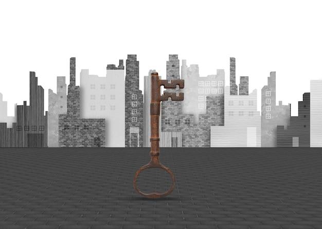 Key auf dem hintergrund der stadt