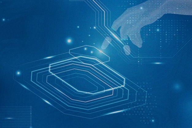 Ki-hintergrund mit disruptiver technologie in blau mit roboterhänden, neu gemischt