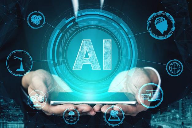 Ki-lern- und künstliches intelligenzkonzept.