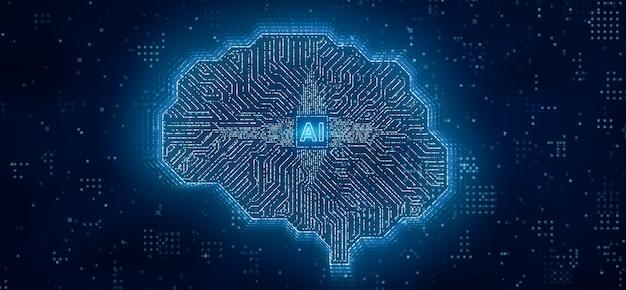 Ki-mikroprozessor überträgt digitale daten über gehirnschaltungscomputer, künstliche intelligenz in der zentralprozessoreinheit oder cpu, 3d-rendering futuristische deep-learning-technologie 3d-darstellung