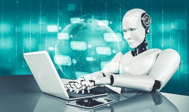 Ki-roboter, der computer verwendet, um mit kunden zu chatten. konzept des chat-bots