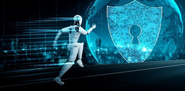 Ki-roboter, der cybersicherheit zum schutz der privatsphäre verwendet