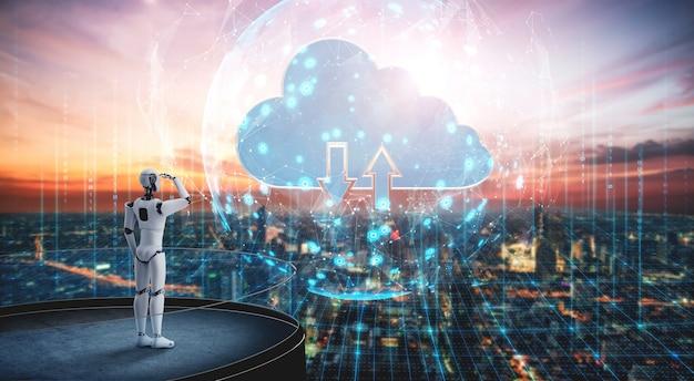 Ki-roboter mit cloud-computing-technologie zum speichern von daten auf einem online-server. futuristisches konzept der cloud-informationsspeicherung, analysiert durch maschinellen lernprozess. 3d-rendering-illustration.