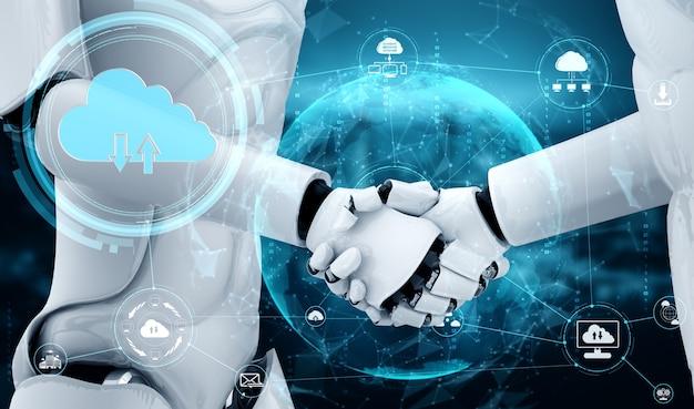 Ki-roboter mit cloud-computing-technologie zum speichern von daten auf einem online-server.