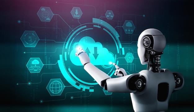 Ki-roboter mit cloud-computing-technologie zum speichern von daten auf einem online-server
