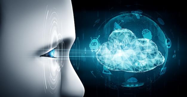 Ki-roboter mit cloud-computing-technologie zum speichern von daten auf online-server