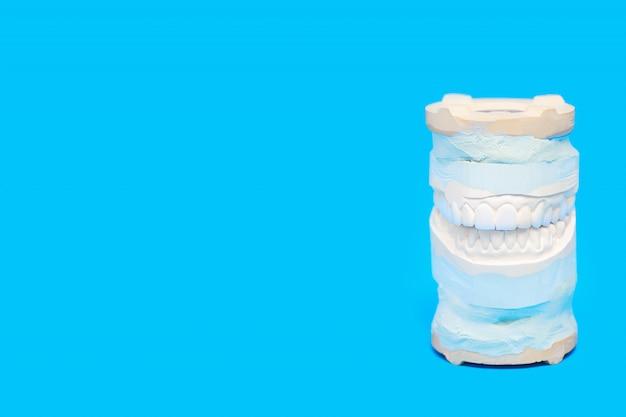 Kiefer warf in einem speziellen medizinischen gerät auf blau