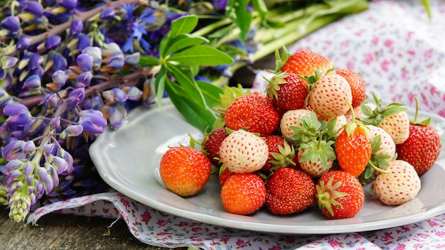 Kiefernbeere und erdbeere auf dem hölzernen alten