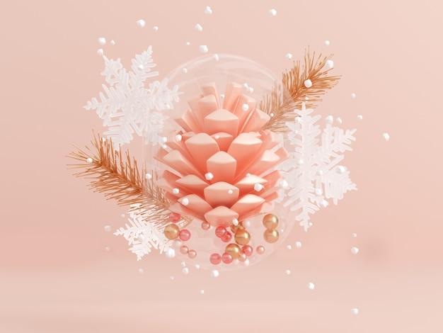 Kiefernkegelschneeflockenschwebebewegungszusammenfassungswinterkonzept der glaskiefer 3d klare wiedergabe