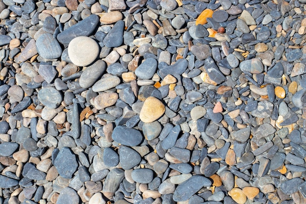 Kieselsteine aus dem meer. natürlicher hintergrund aus kleinen und großen steinen. vorlage für text.