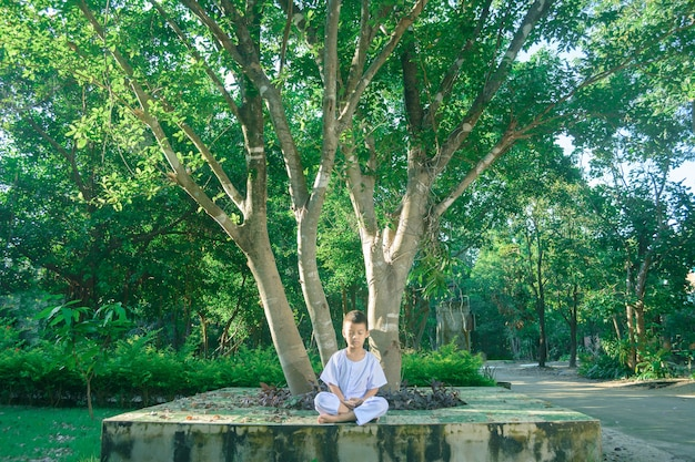 Kind auf weißer kleidung, praxis, meditation unter dem großen baum mit frieden im verstand sitzend