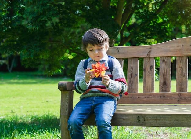 Kind, das ahornblatt auf seiner hand betrachtet, die auf hölzerner bank im park mit verschwommenem herbstbaum sitzt