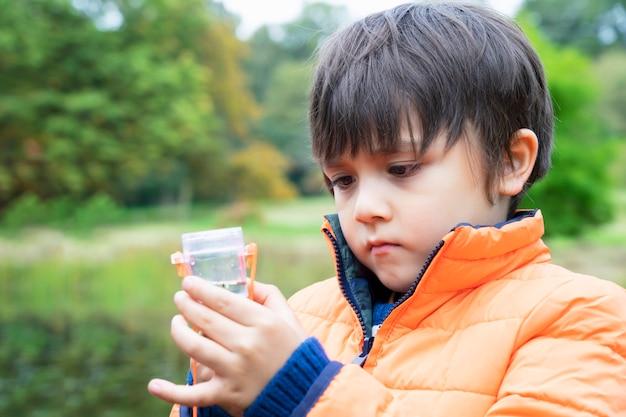 Kind, das kreaturen in der käferbox betrachtet