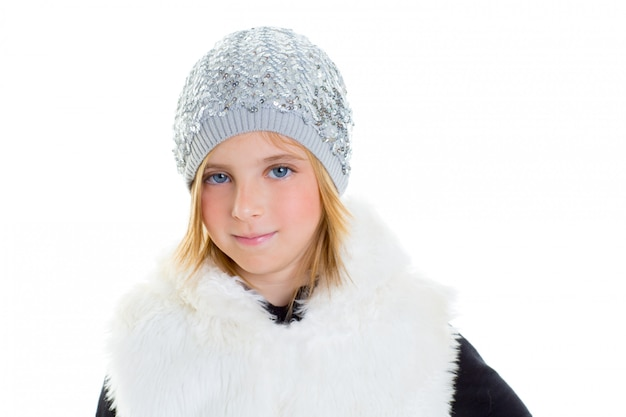 Kind glücklich blond kind mädchen porträt winter wolle weiße mütze