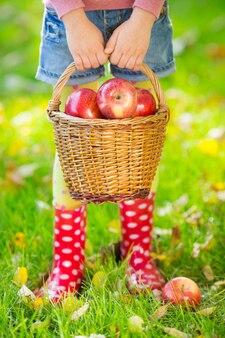 Kind hält korb mit äpfeln im herbst draußen. thanksgiving-feiertagskonzept