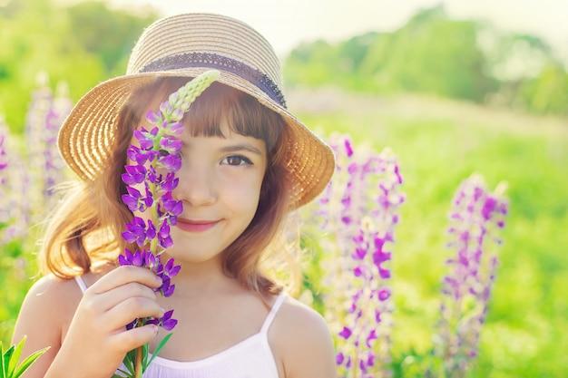 Kind in einem lupinenfeld