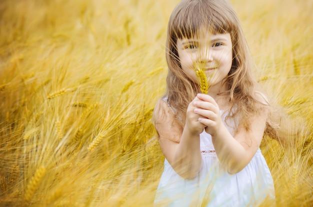 Kind in einem weizenfeld. selektiver fokus. natur