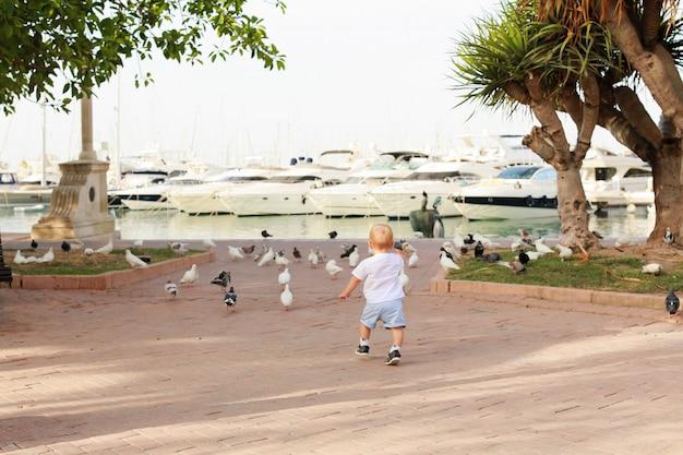 Kind in tauben auf der promenade