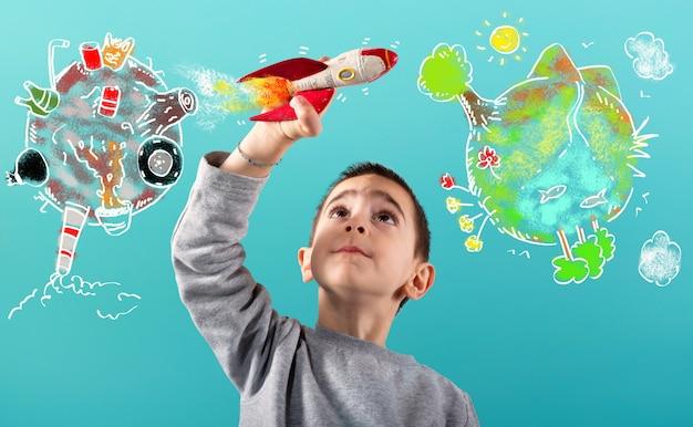 Kind mit einer schnellen rakete wandert vom verschmutzten planeten in eine saubere welt.