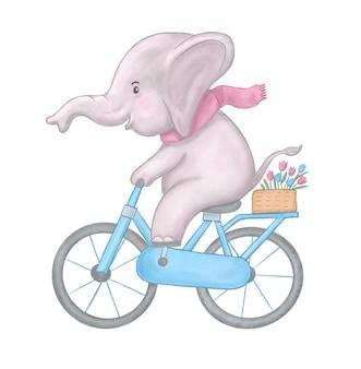 Kinder aquarell niedliche illustration. niedliches babyelefant-aquarellreitfahrrad.