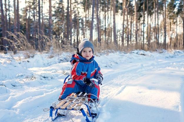 Kinder, die spaß haben und im verschneiten winterwald schlitten fahren, genießen saisonale outdoor-aktivitäten