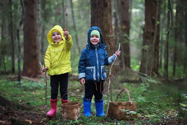 Kinder gehen in den wald für pilze