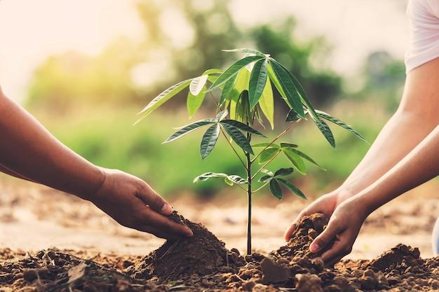 Kinder helfen beim pflanzen von bäumen im garten, um die welt zu retten. öko-umweltkonzept
