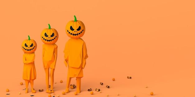 Kinder mit halloween-laternenkürbis statt kopf karneval süßes oder saures textfreiraum