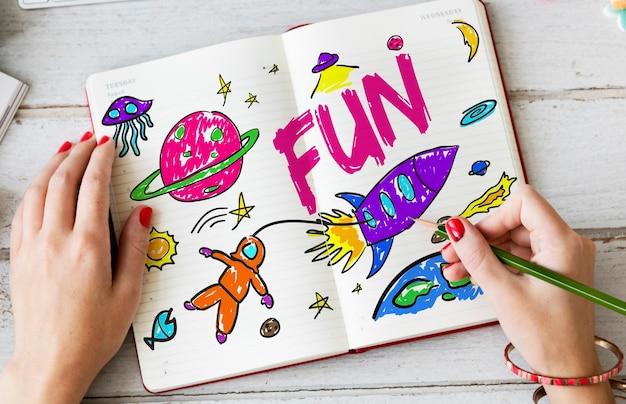 Kinder phantasie weltraumrakete fröhliches grafikkonzept