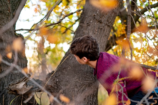 Kinder spielen versteckspiel im park. versteckt sich hinter dem baum