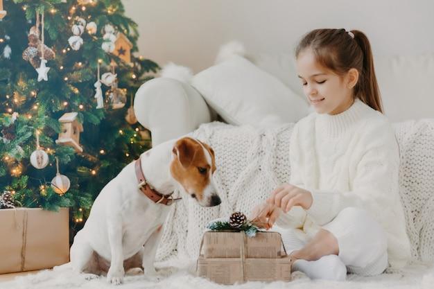 Kinder, tiere und winterferienkonzept. reizend kleines europäisches mädchen packt geschenkbox aus, wirft auf boden zusammen mit stammbaumwelpen auf