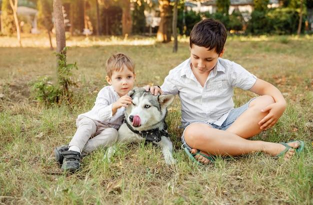Kinder und ein haustier auf einer sommerwiese. jungen umarmen liebevoll seinen hund
