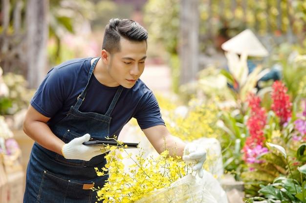 Kindergärtnerin mit digitaler tablette, die blühende pflanzenblumen überprüft