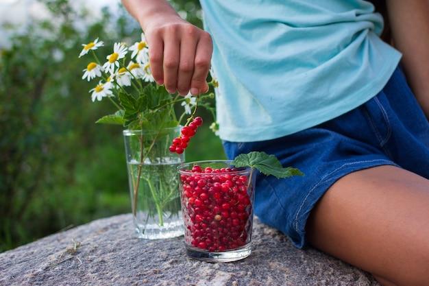 Kinderhand, die glas voll roter johannisbeeren im sommer draußen im garten hält