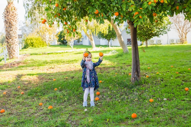 Kindermädchen, das orangen im garten hält. kleiner bauer